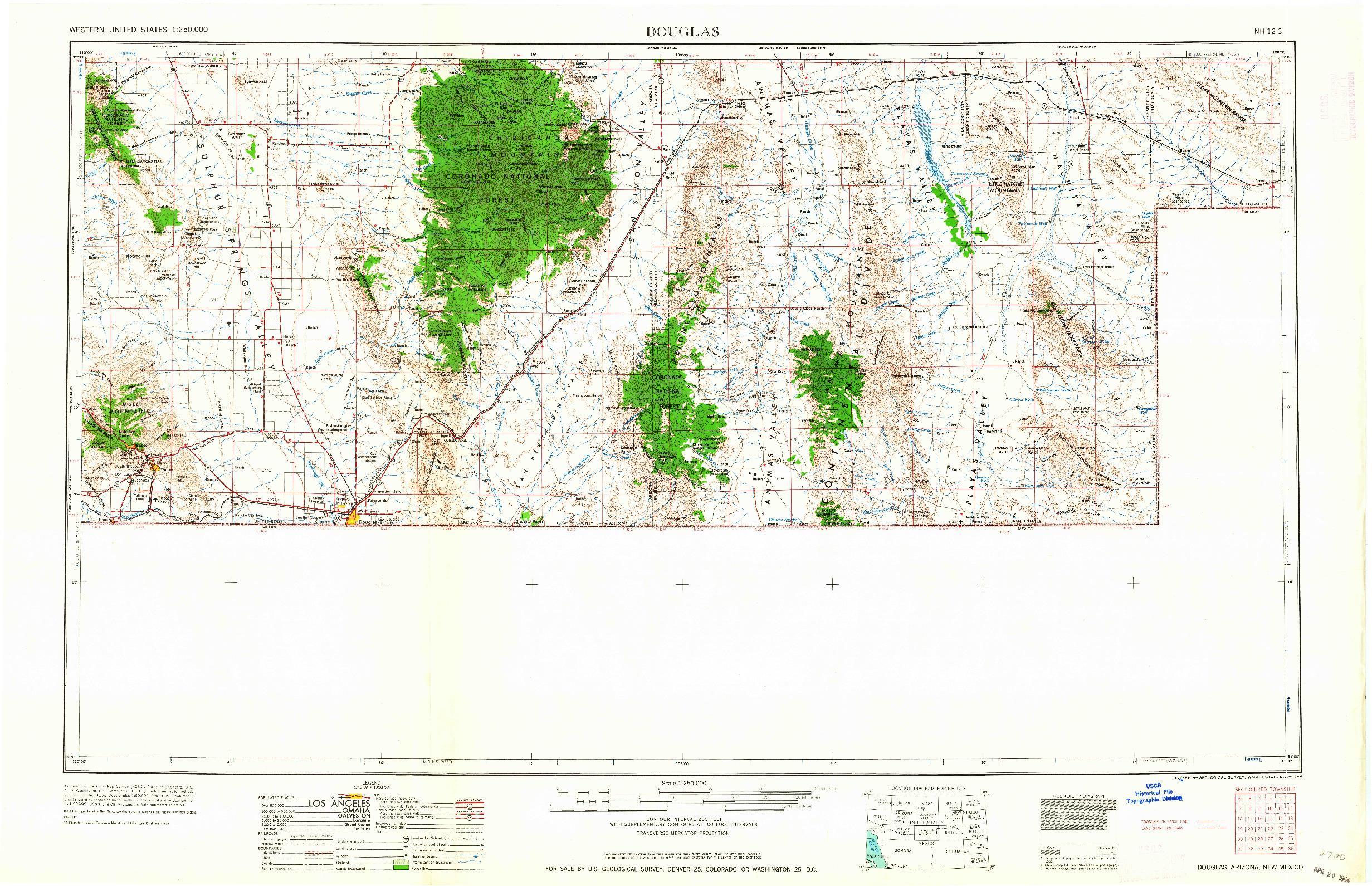 USGS 1:250000-SCALE QUADRANGLE FOR DOUGLAS, AZ 1964