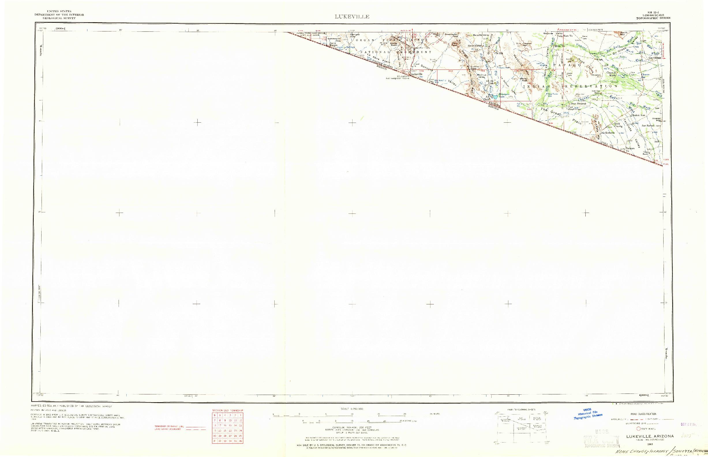 USGS 1:250000-SCALE QUADRANGLE FOR LUKEVILLE, AZ 1963
