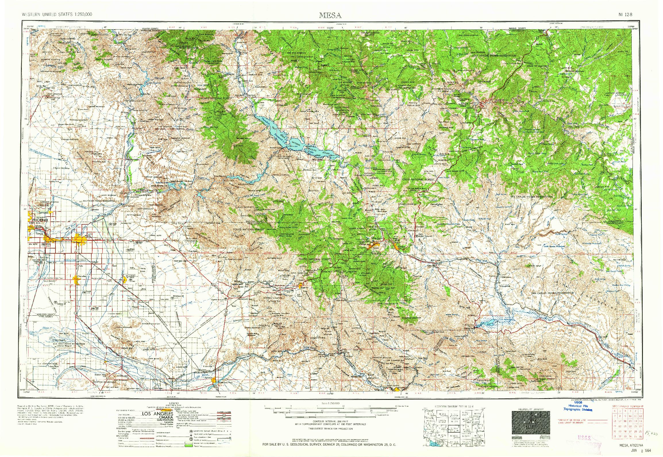 USGS 1:250000-SCALE QUADRANGLE FOR MESA, AZ 1964