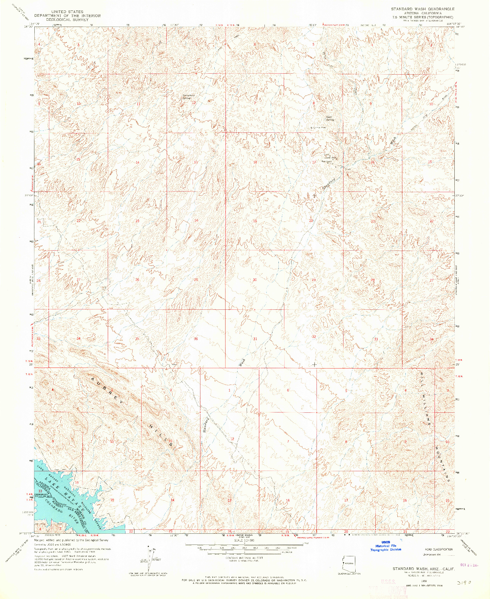 USGS 1:24000-SCALE QUADRANGLE FOR STANDARD WASH, AZ 1959