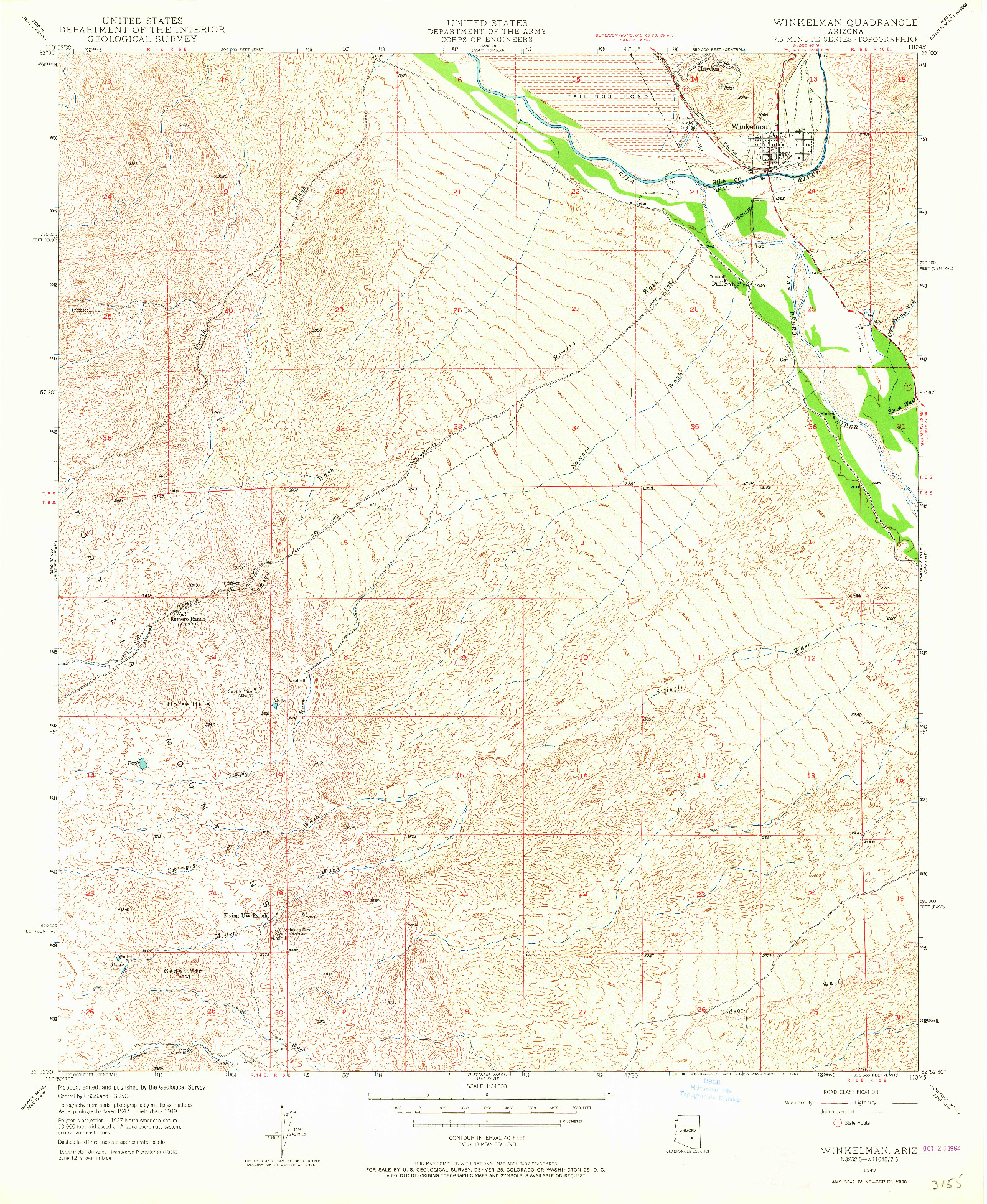 USGS 1:24000-SCALE QUADRANGLE FOR WINKELMAN, AZ 1949