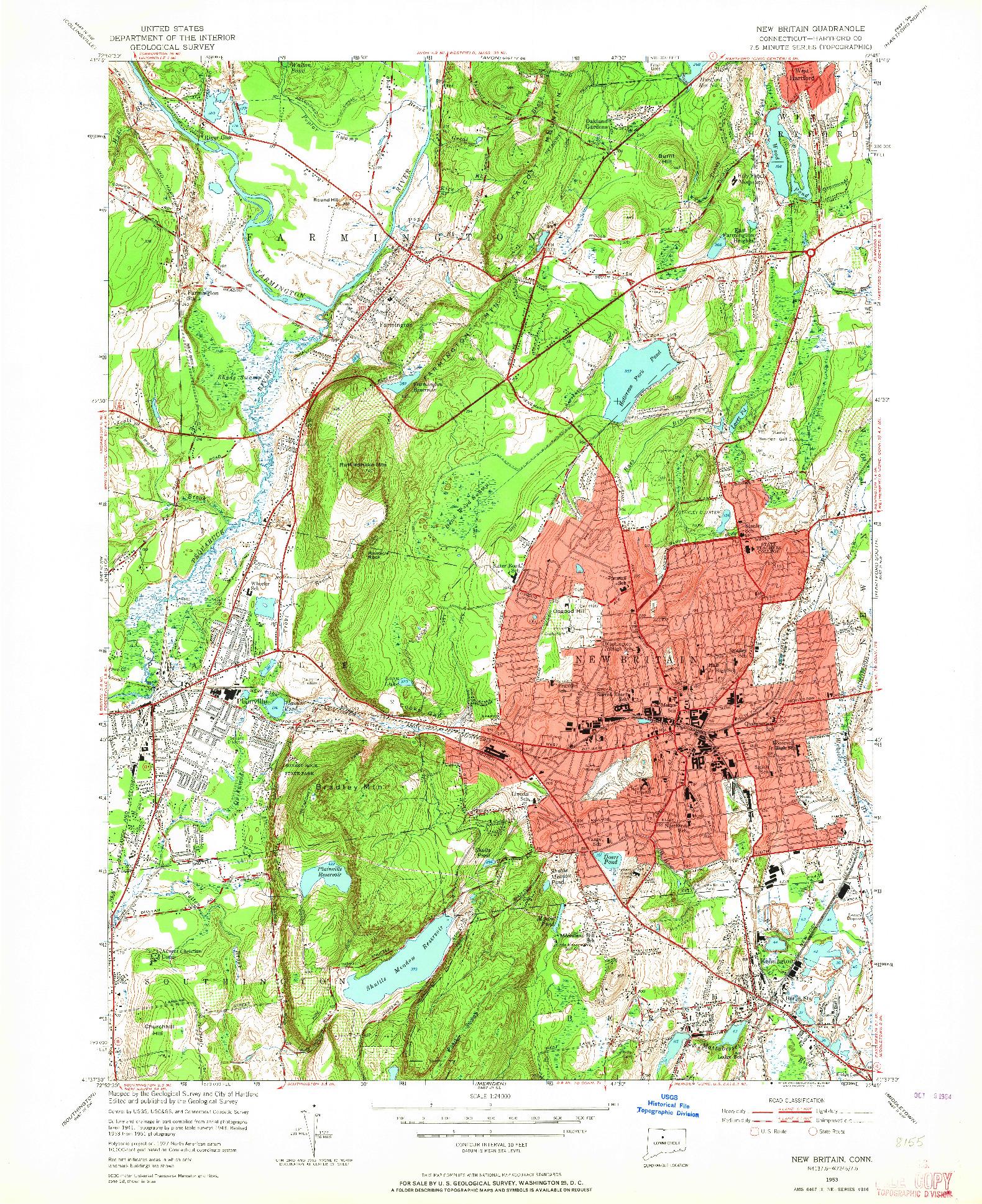 USGS 1:24000-SCALE QUADRANGLE FOR NEW BRITAIN, CT 1953