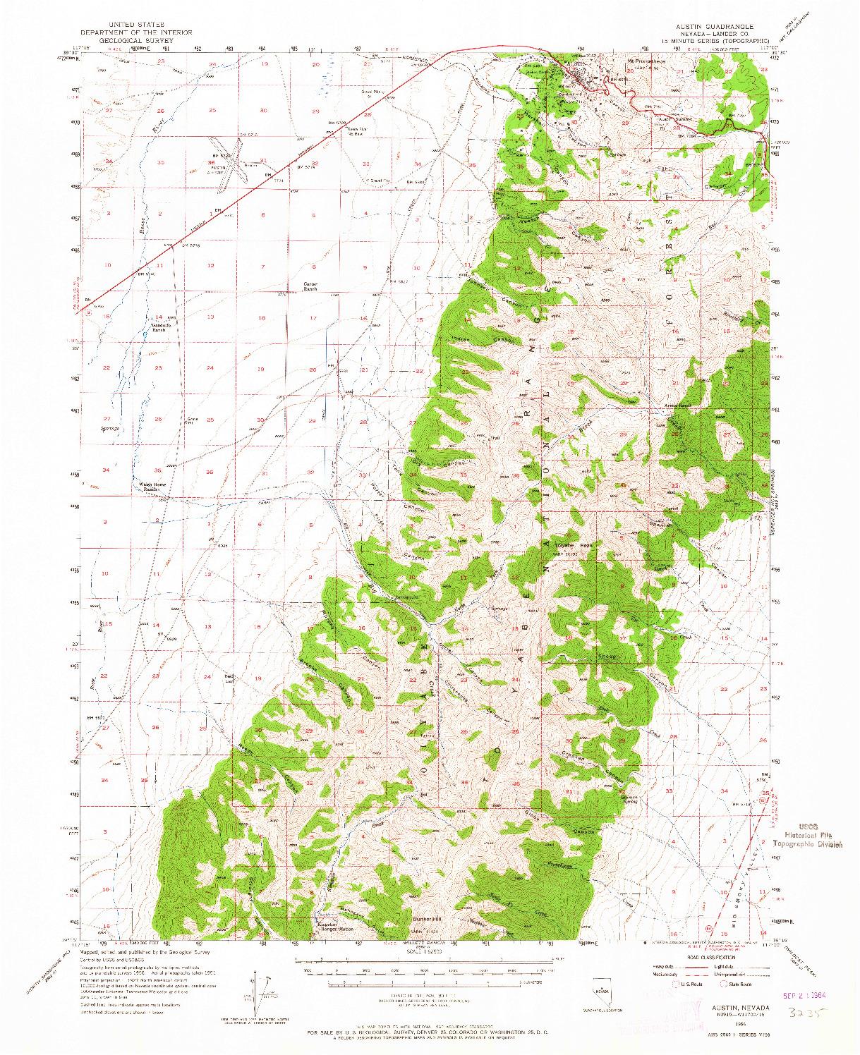 USGS 1:62500-SCALE QUADRANGLE FOR AUSTIN, NV 1956