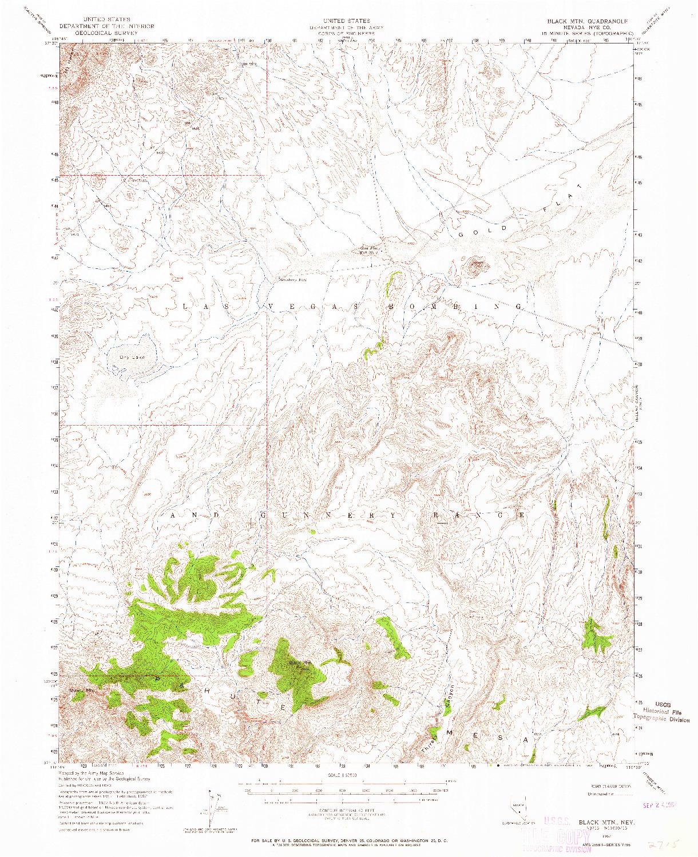 USGS 1:62500-SCALE QUADRANGLE FOR BLACK MTN, NV 1952