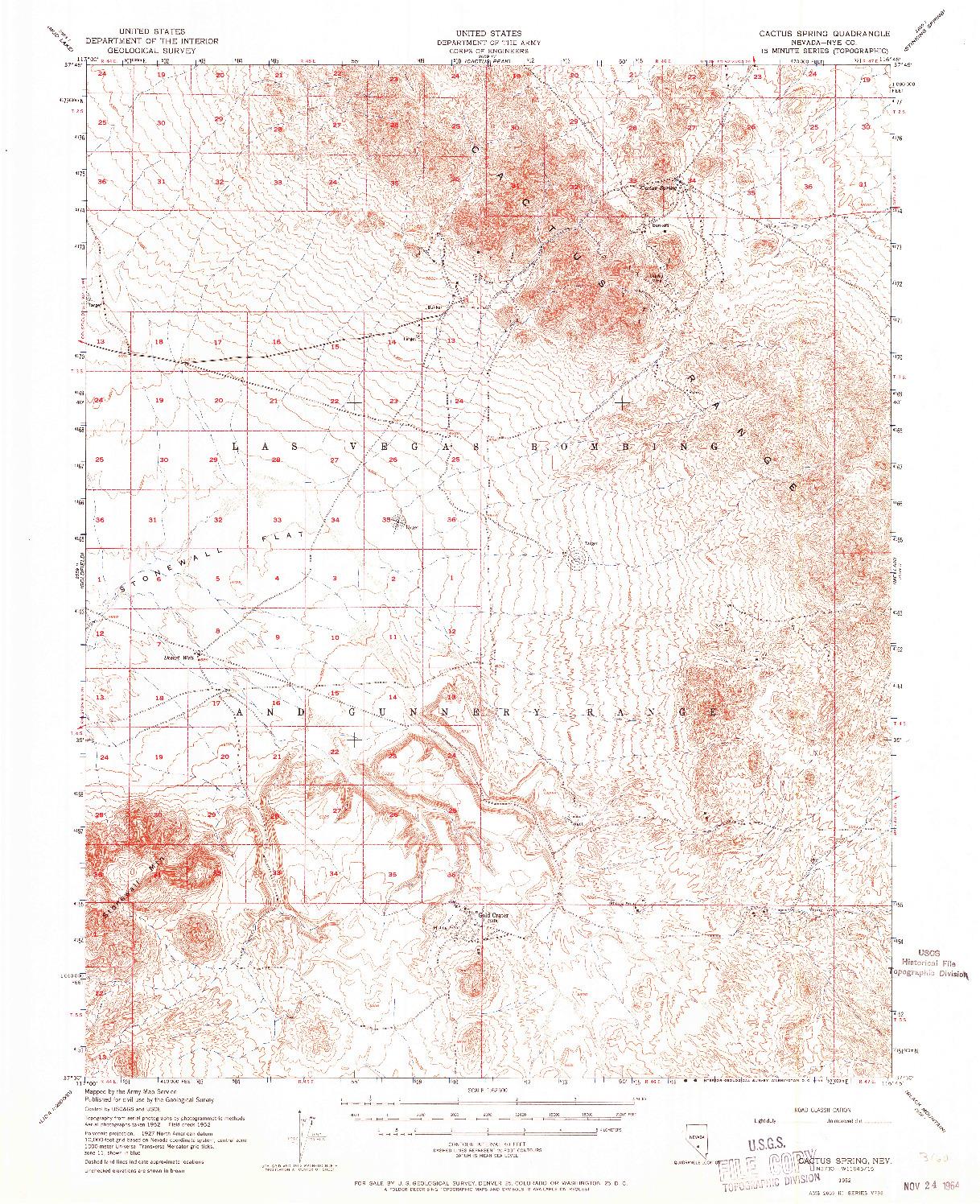 USGS 1:62500-SCALE QUADRANGLE FOR CACTUS SPRING, NV 1952