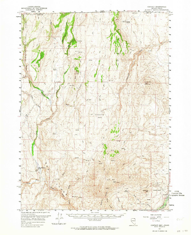 USGS 1:62500-SCALE QUADRANGLE FOR CONTACT, NV 1957