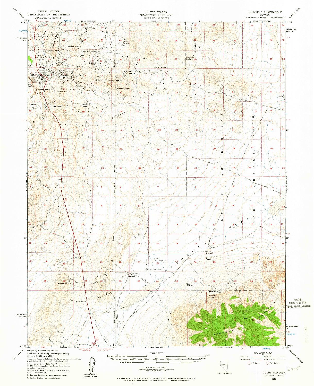 USGS 1:62500-SCALE QUADRANGLE FOR GOLDFIELD, NV 1952