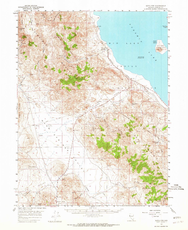 USGS 1:62500-SCALE QUADRANGLE FOR SUTCLIFFE, NV 1957