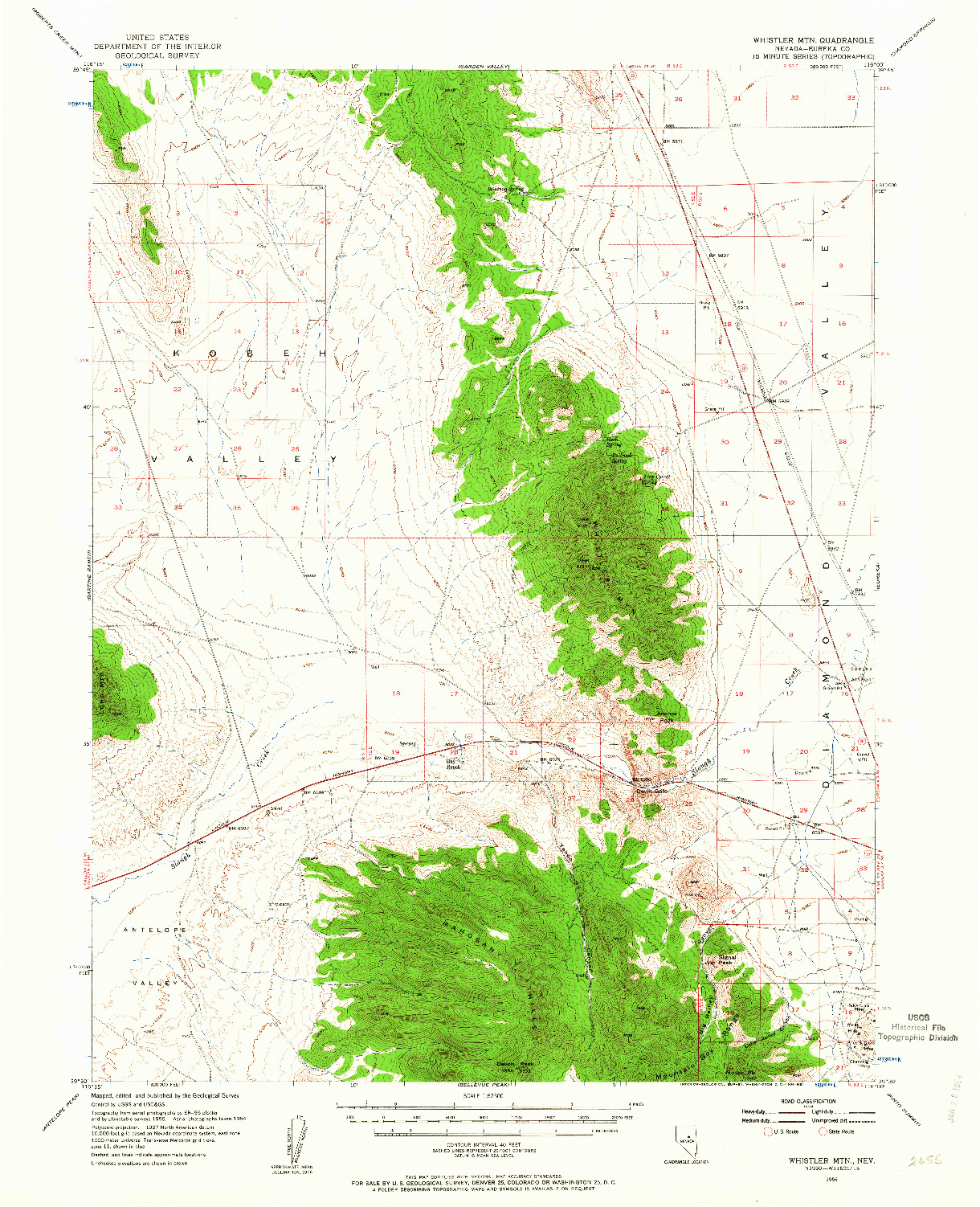 USGS 1:62500-SCALE QUADRANGLE FOR WHISTLER MTN, NV 1956