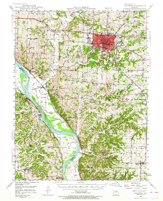 USGS 1:62500-SCALE QUADRANGLE FOR COLUMBIA, MO 1948