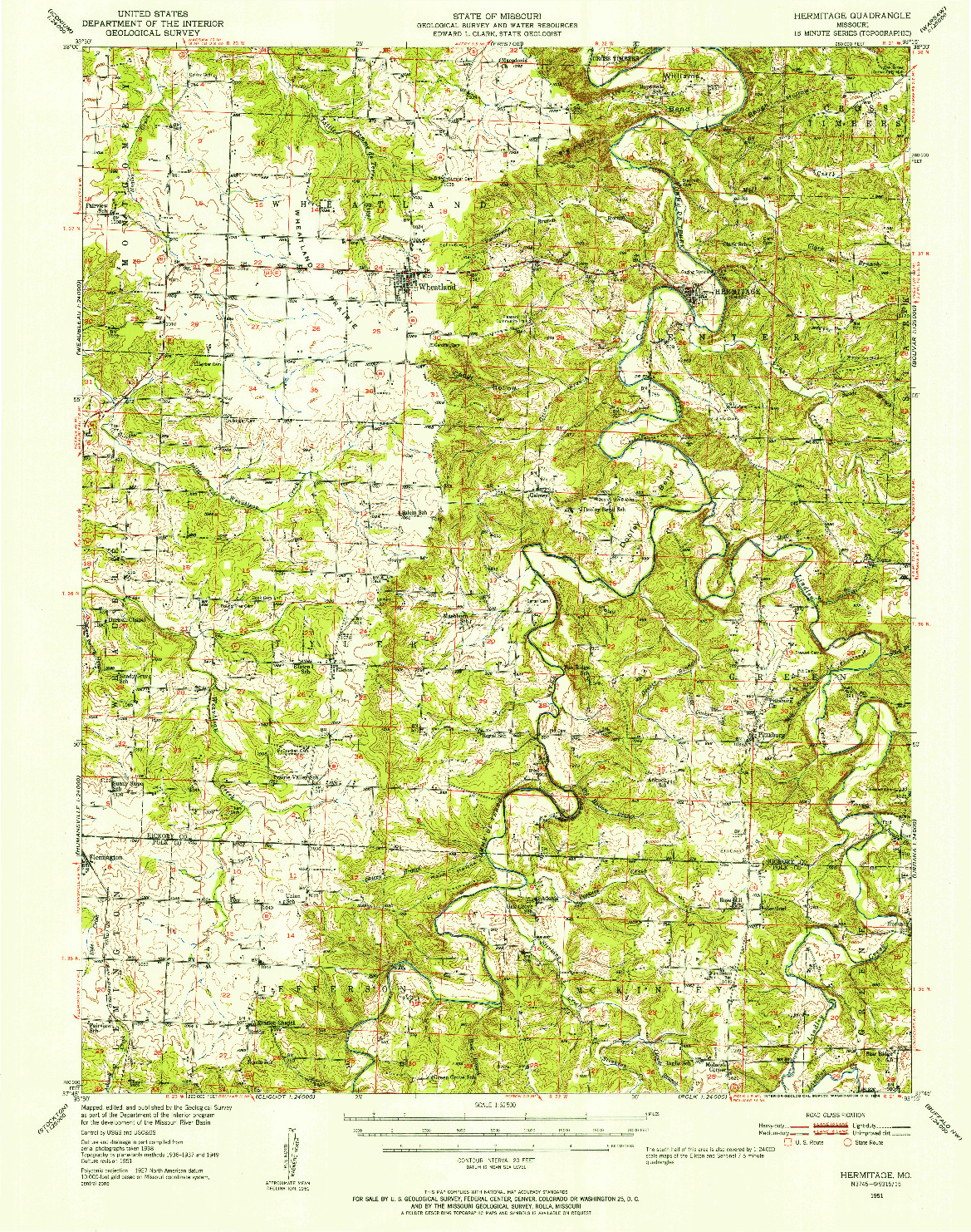 USGS 1:62500-SCALE QUADRANGLE FOR HERMITAGE, MO 1951