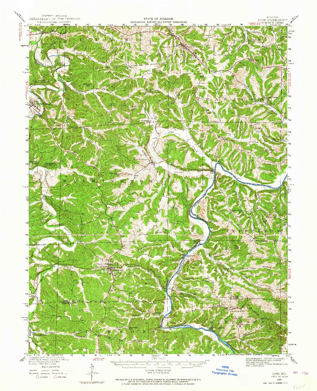 USGS 1:62500-SCALE QUADRANGLE FOR LINN, MO 1942