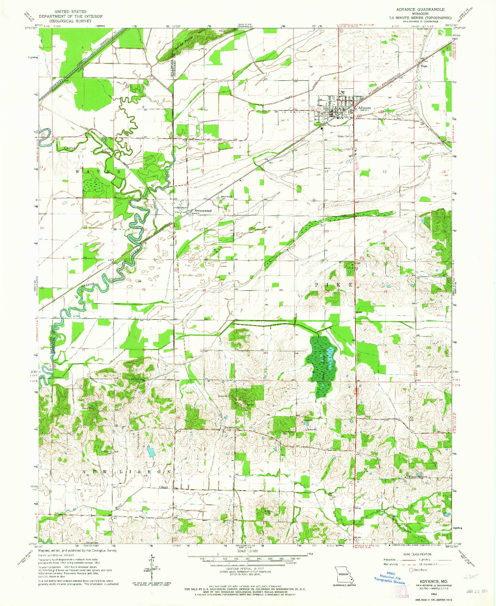 USGS 1:24000-SCALE QUADRANGLE FOR ADVANCE, MO 1963
