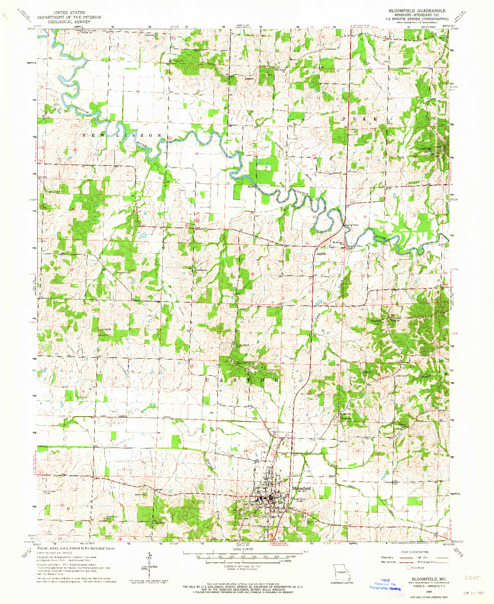 USGS 1:24000-SCALE QUADRANGLE FOR BLOOMFIELD, MO 1963
