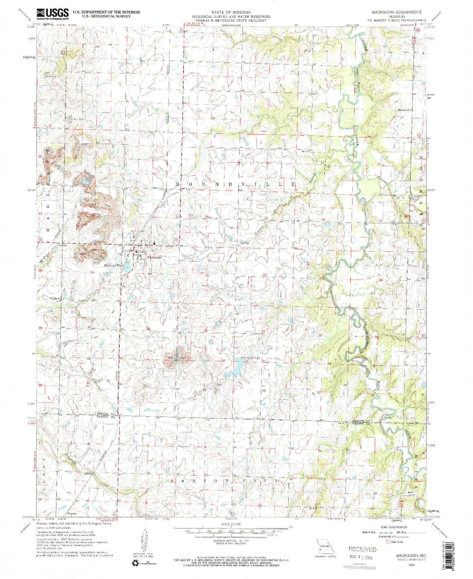 USGS 1:24000-SCALE QUADRANGLE FOR BRONAUGH, MO 1962