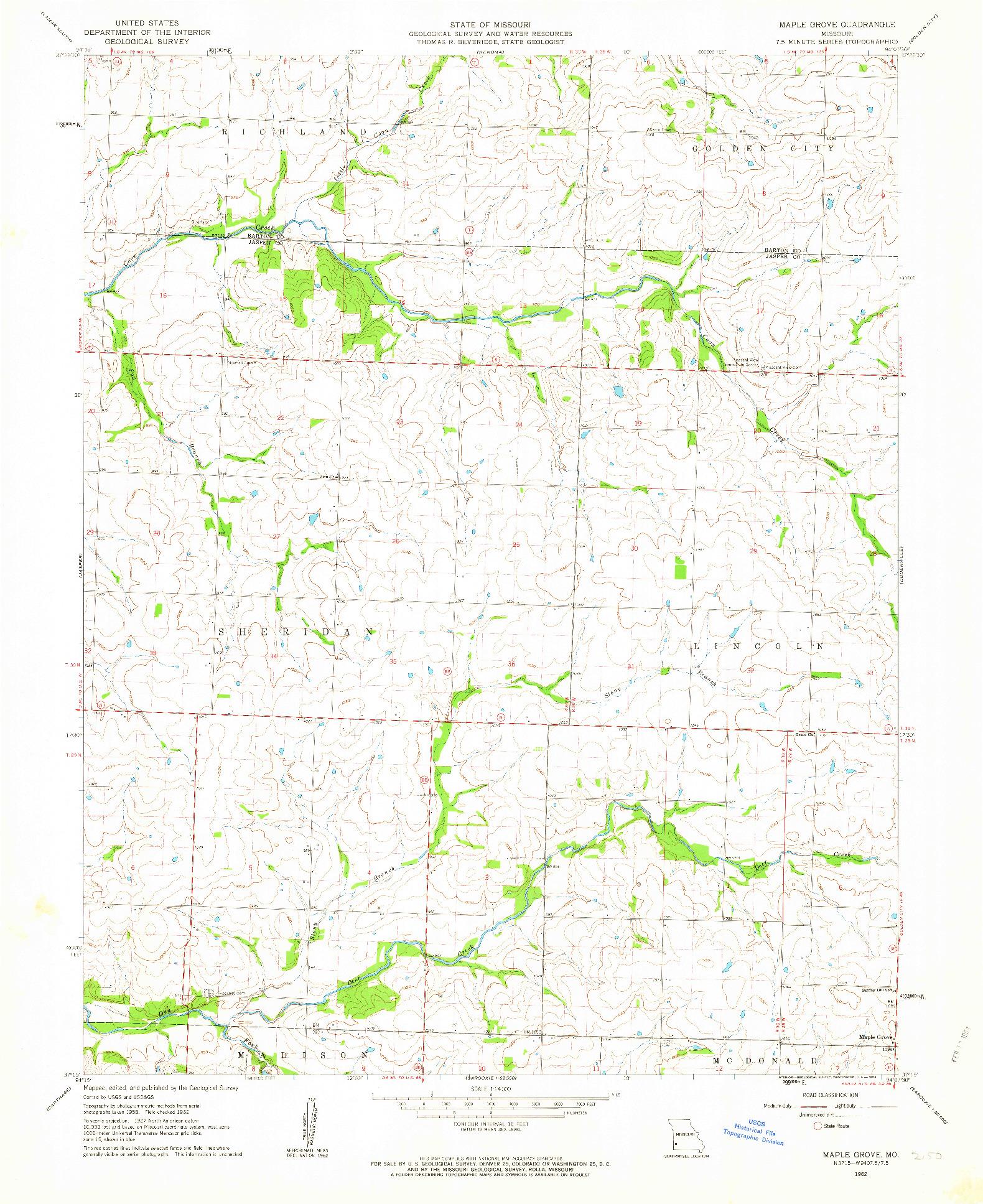 USGS 1:24000-SCALE QUADRANGLE FOR MAPLE GROVE, MO 1962