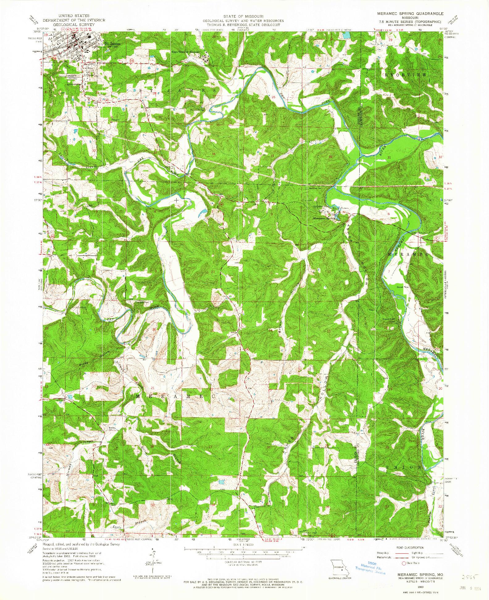 USGS 1:24000-SCALE QUADRANGLE FOR MERAMEC SPRING, MO 1963
