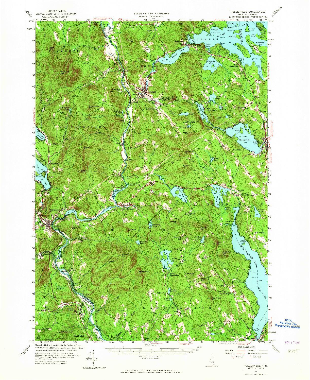 USGS 1:62500-SCALE QUADRANGLE FOR HOLDERNESS, NH 1956