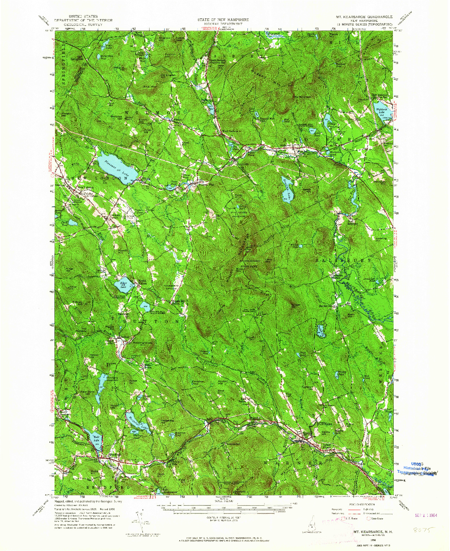 USGS 1:62500-SCALE QUADRANGLE FOR MT. KEARSARGE, NH 1956