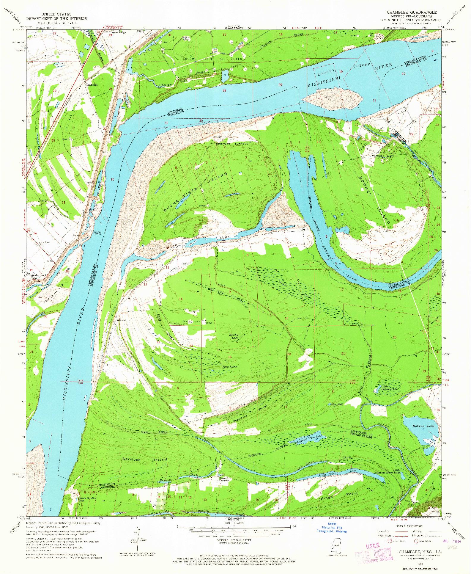 USGS 1:24000-SCALE QUADRANGLE FOR CHAMBLEE, LA 1963