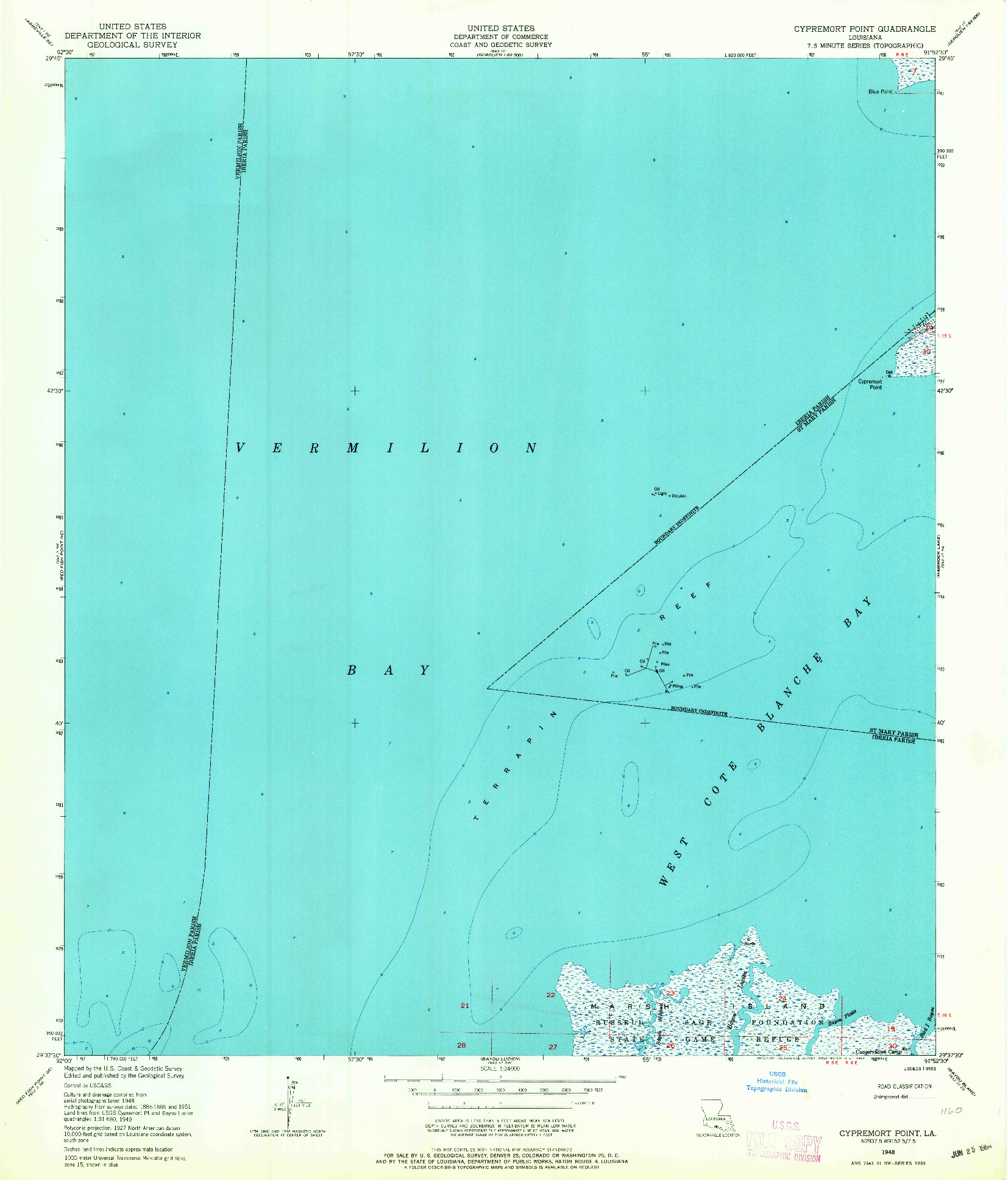 USGS 1:24000-SCALE QUADRANGLE FOR CYPREMORT POINT, LA 1948