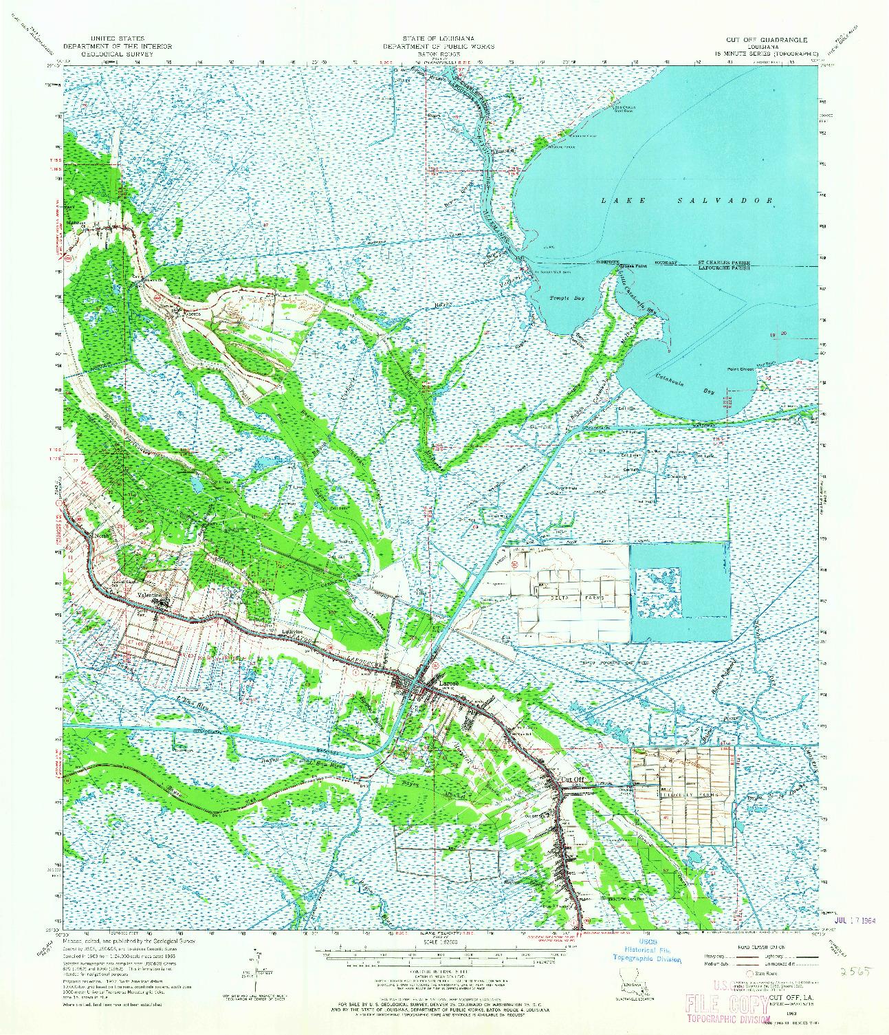 USGS 1:62500-SCALE QUADRANGLE FOR CUT OFF, LA 1963