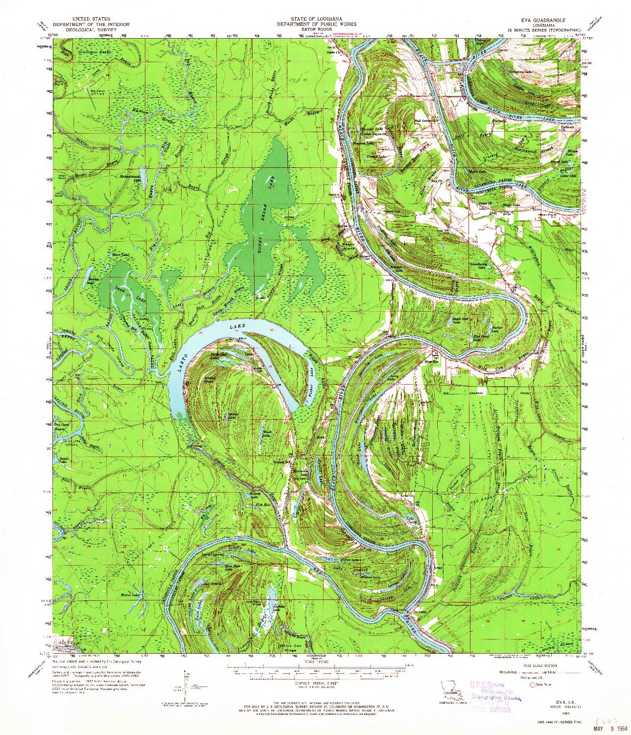 USGS 1:62500-SCALE QUADRANGLE FOR EVA, LA 1960