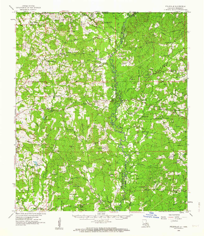 USGS 1:62500-SCALE QUADRANGLE FOR FELIXVILLE, LA 1958