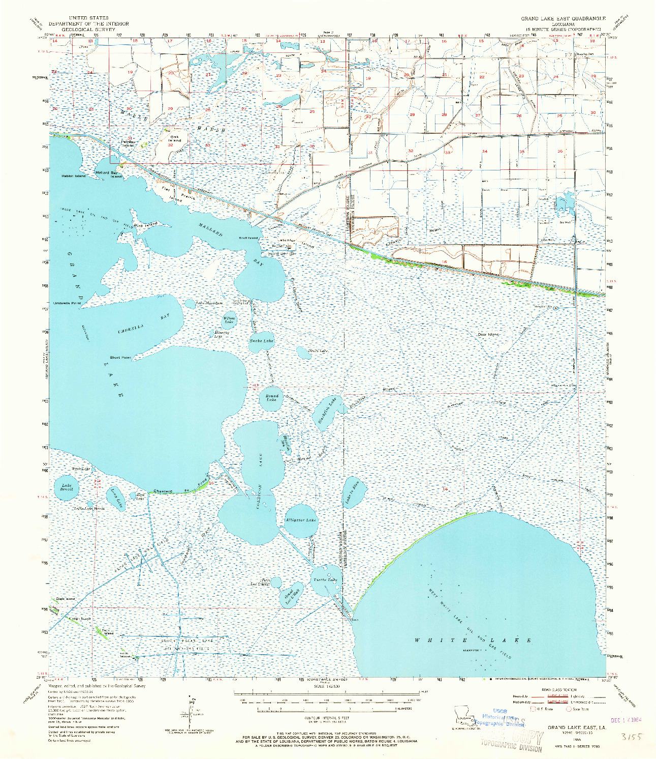 USGS 1:62500-SCALE QUADRANGLE FOR GRAND LAKE EAST, LA 1955