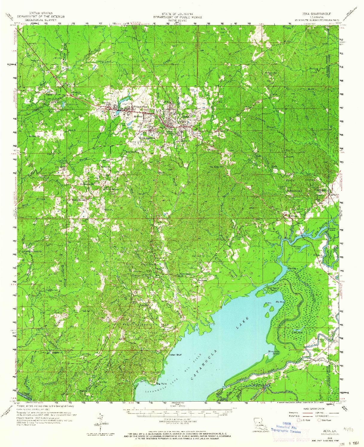 USGS 1:62500-SCALE QUADRANGLE FOR JENA, LA 1958