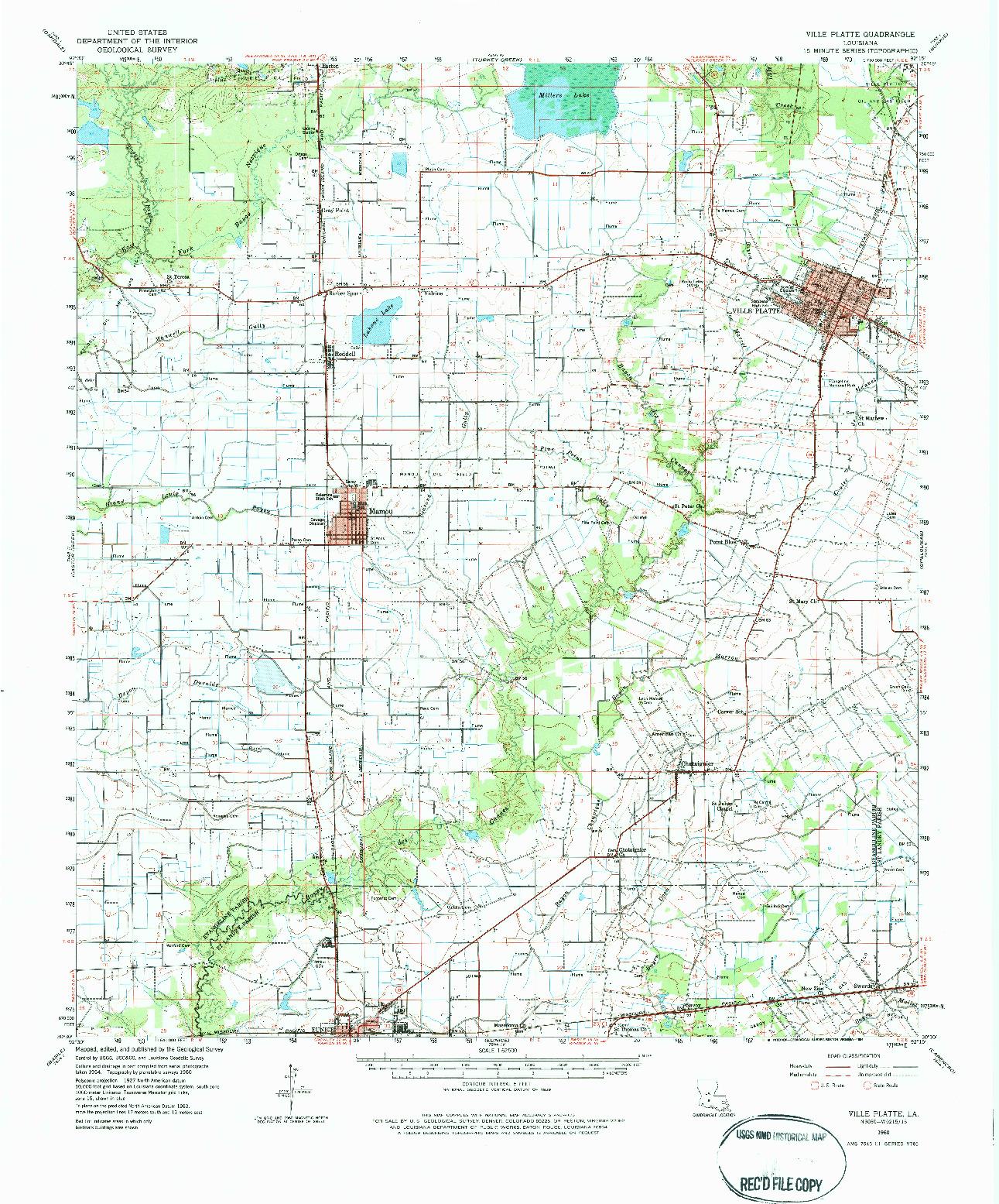 USGS 1:62500-SCALE QUADRANGLE FOR VILLE PLATTE, LA 1960