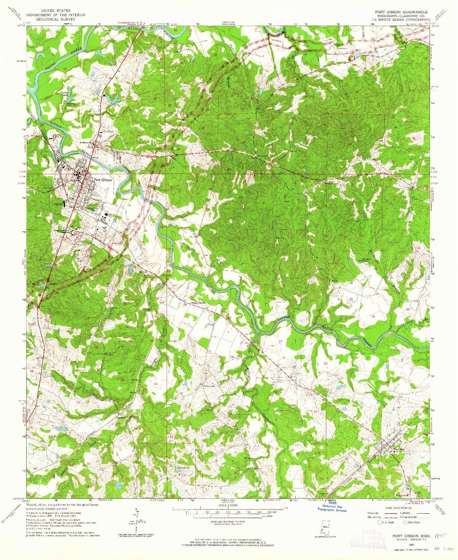 USGS 1:24000-SCALE QUADRANGLE FOR PORT GIBSON, MS 1963