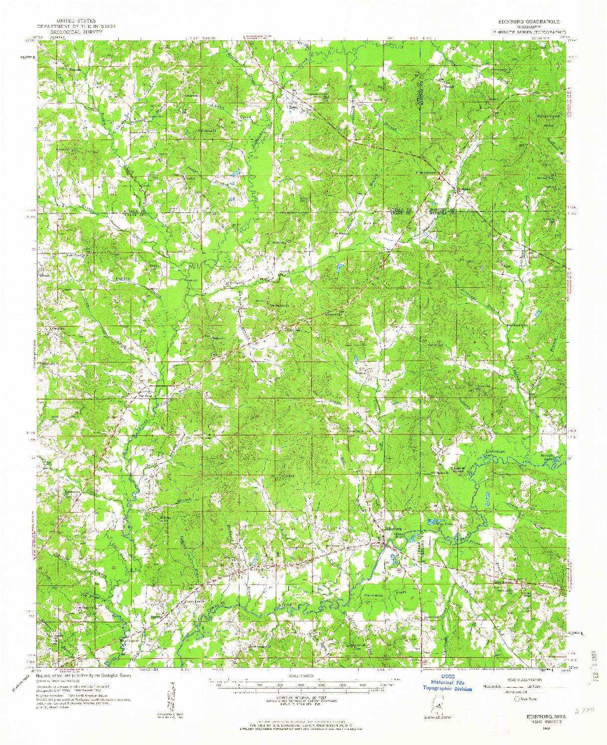 USGS 1:62500-SCALE QUADRANGLE FOR EDINBURG, MS 1962