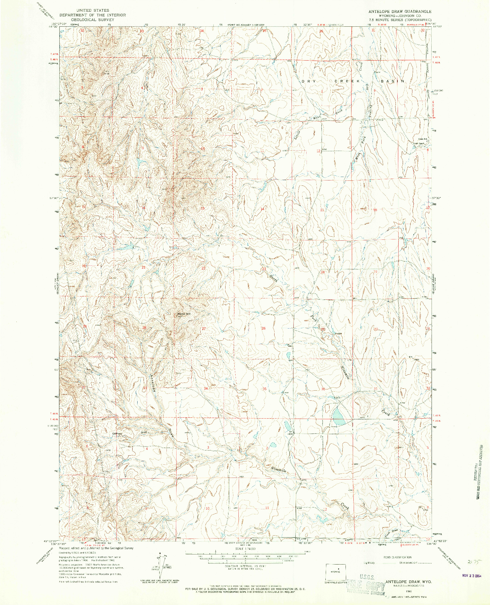 USGS 1:24000-SCALE QUADRANGLE FOR ANTELOPE DRAW, WY 1961