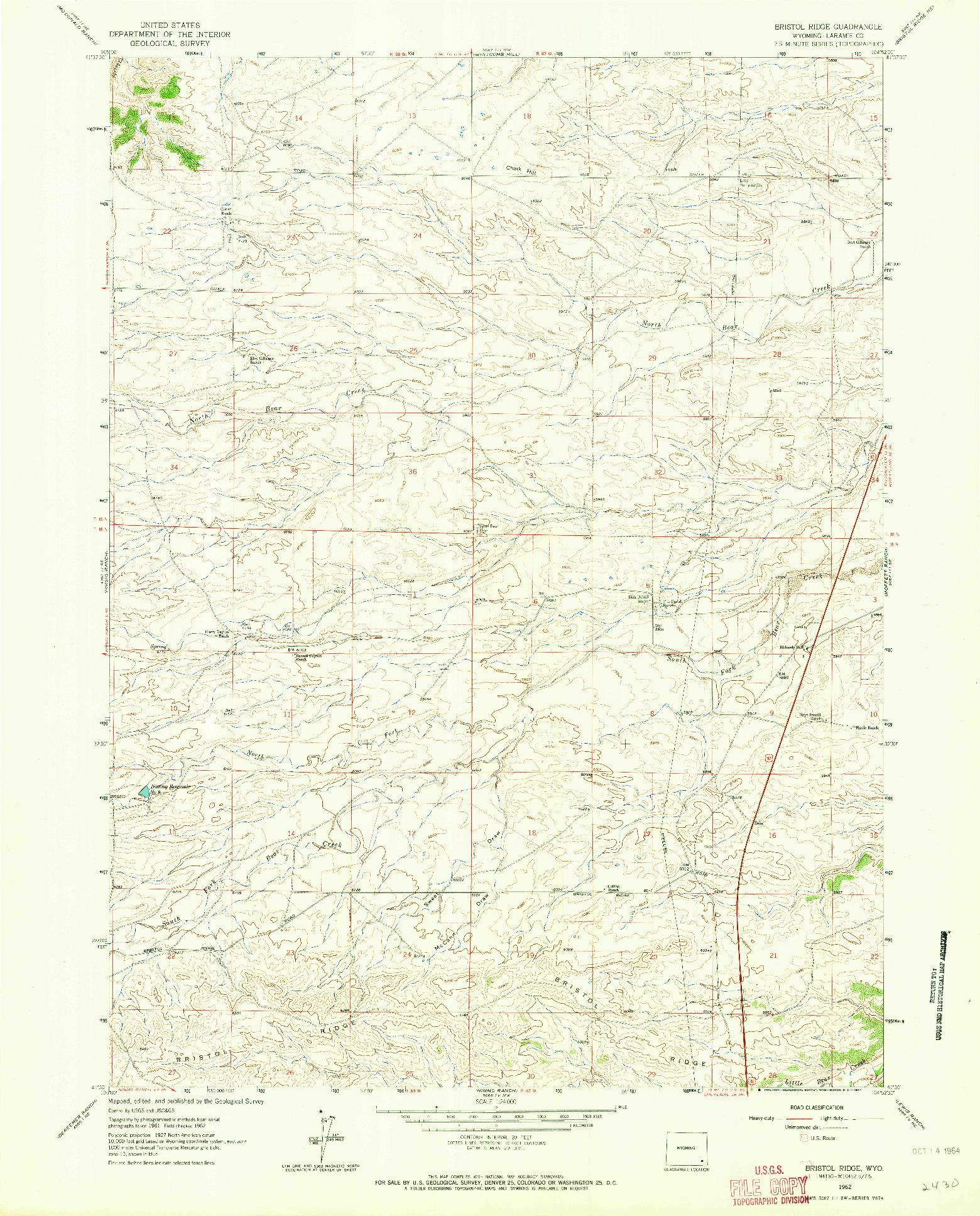 USGS 1:24000-SCALE QUADRANGLE FOR BRISTOL RIDGE, WY 1962
