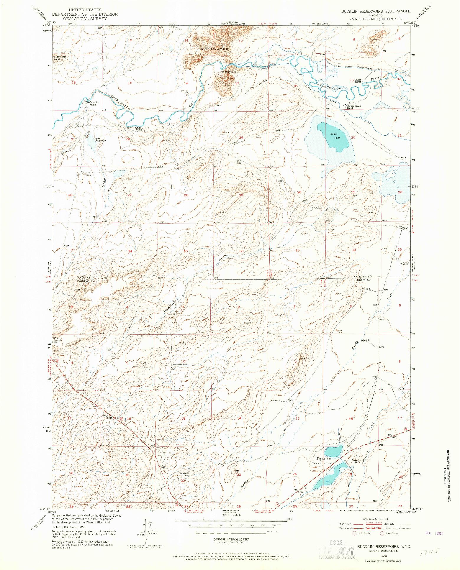 USGS 1:24000-SCALE QUADRANGLE FOR BUCKLIN RESERVOIRS, WY 1951
