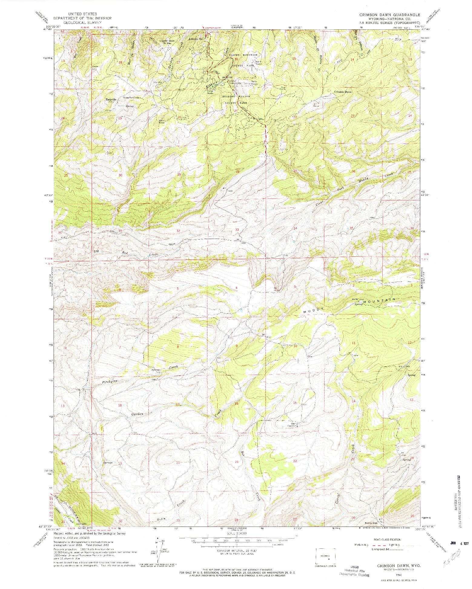 USGS 1:24000-SCALE QUADRANGLE FOR CRIMSON DAWN, WY 1960