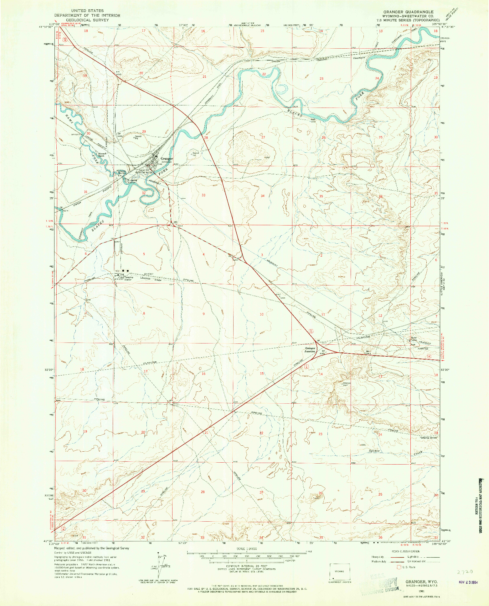 USGS 1:24000-SCALE QUADRANGLE FOR GRANGER, WY 1961