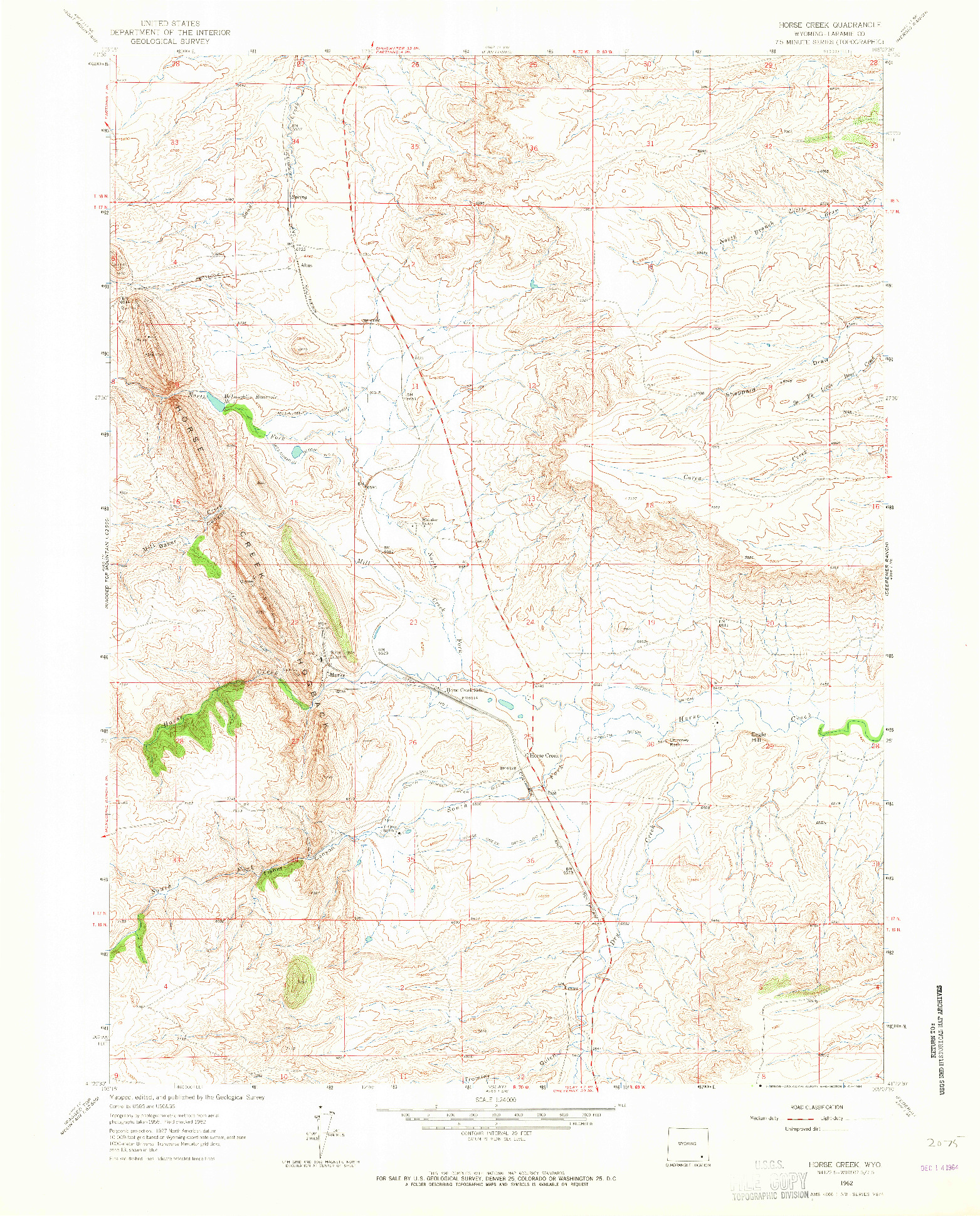 USGS 1:24000-SCALE QUADRANGLE FOR HORSE CREEK, WY 1962