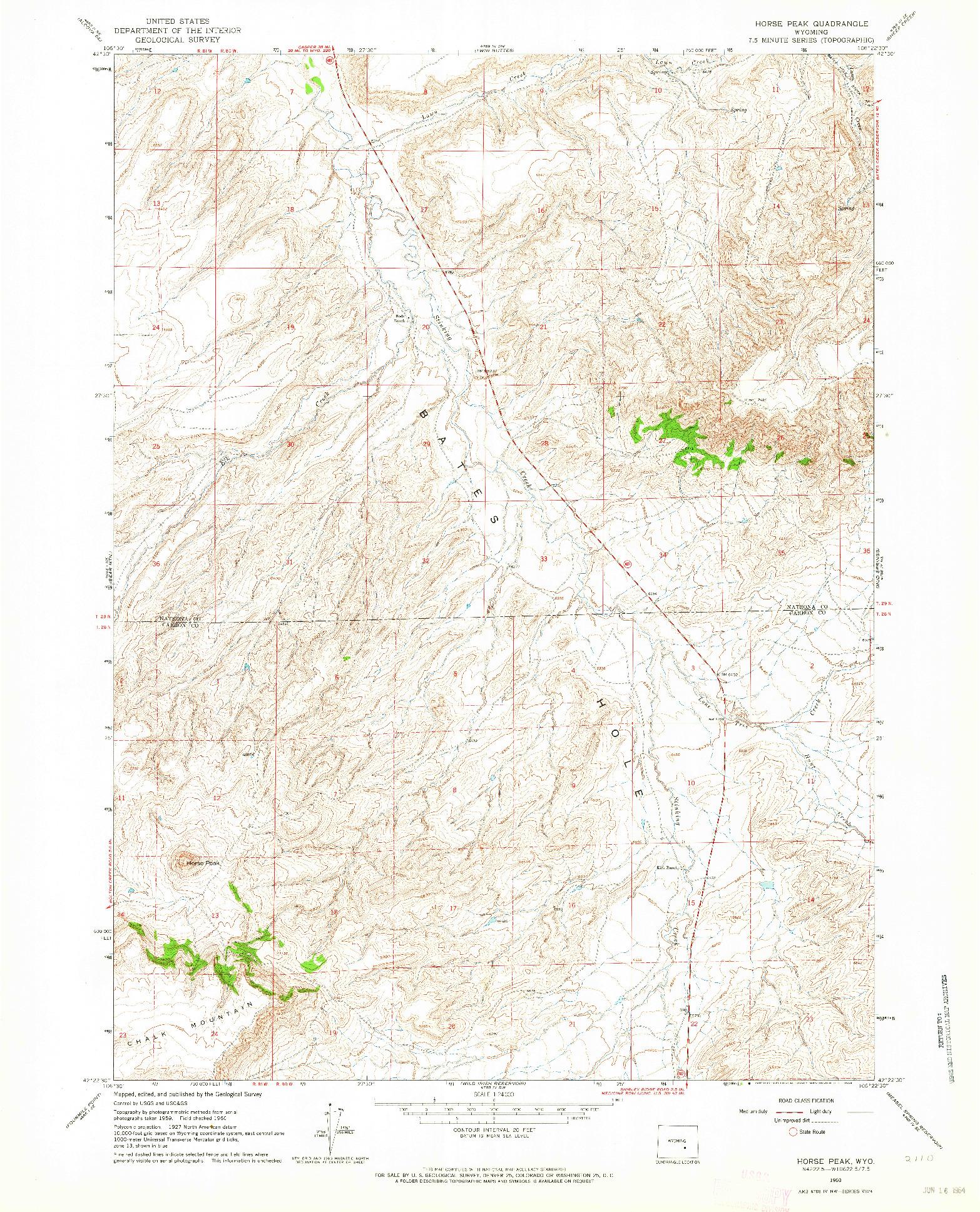 USGS 1:24000-SCALE QUADRANGLE FOR HORSE PEAK, WY 1960