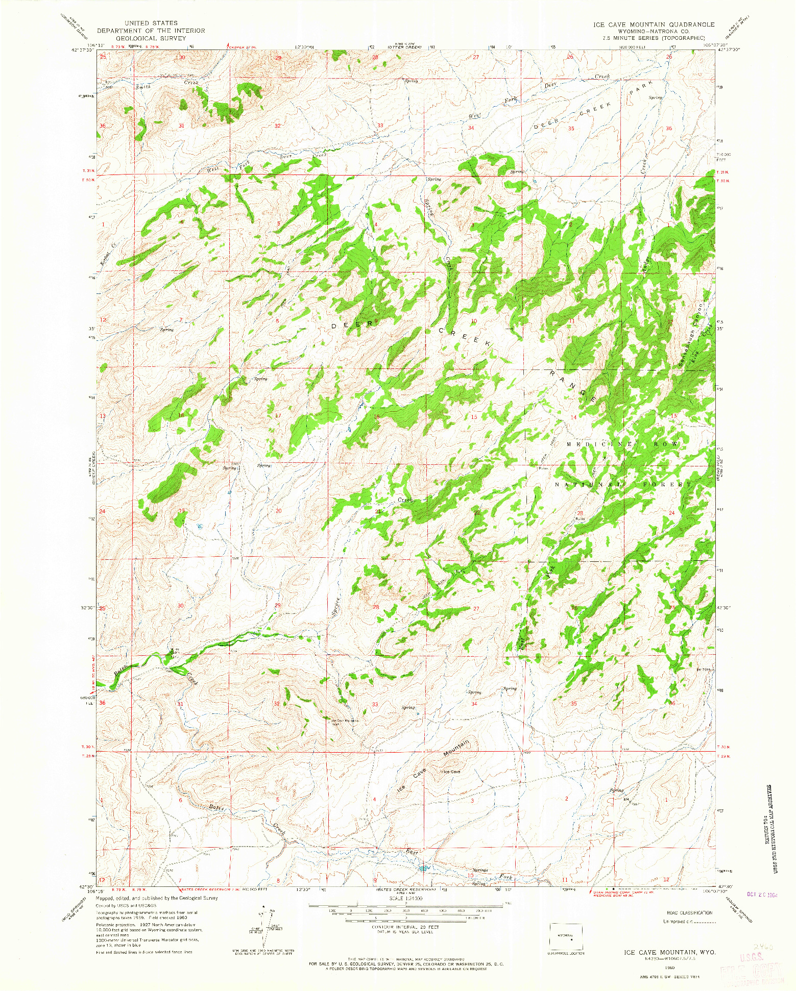 USGS 1:24000-SCALE QUADRANGLE FOR ICE CAVE MOUNTAIN, WY 1960
