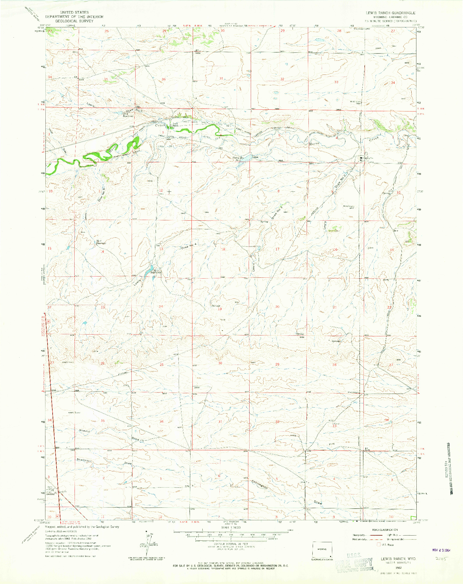 USGS 1:24000-SCALE QUADRANGLE FOR LEWIS RANCH, WY 1962
