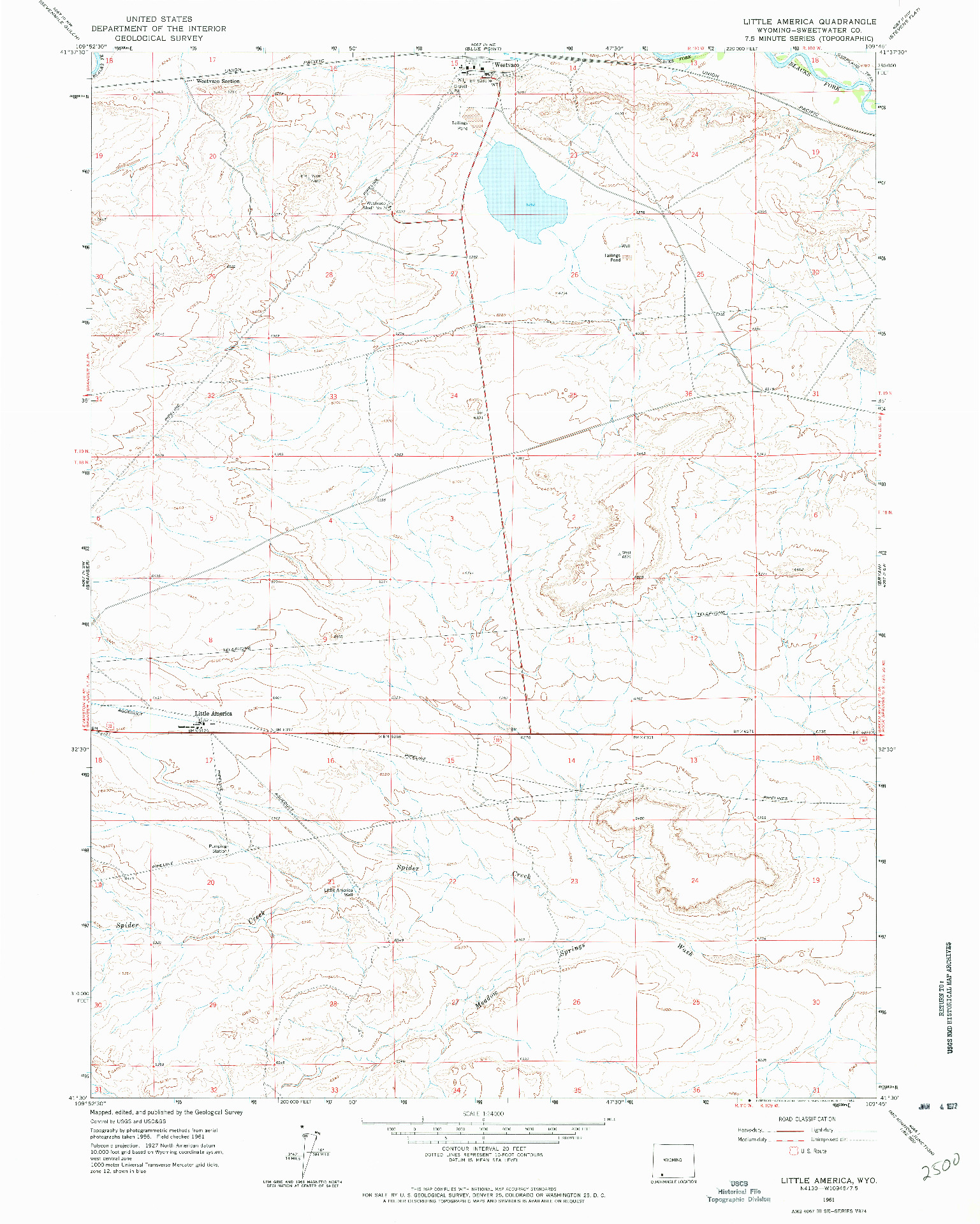 USGS 1:24000-SCALE QUADRANGLE FOR LITTLE AMERICA, WY 1961