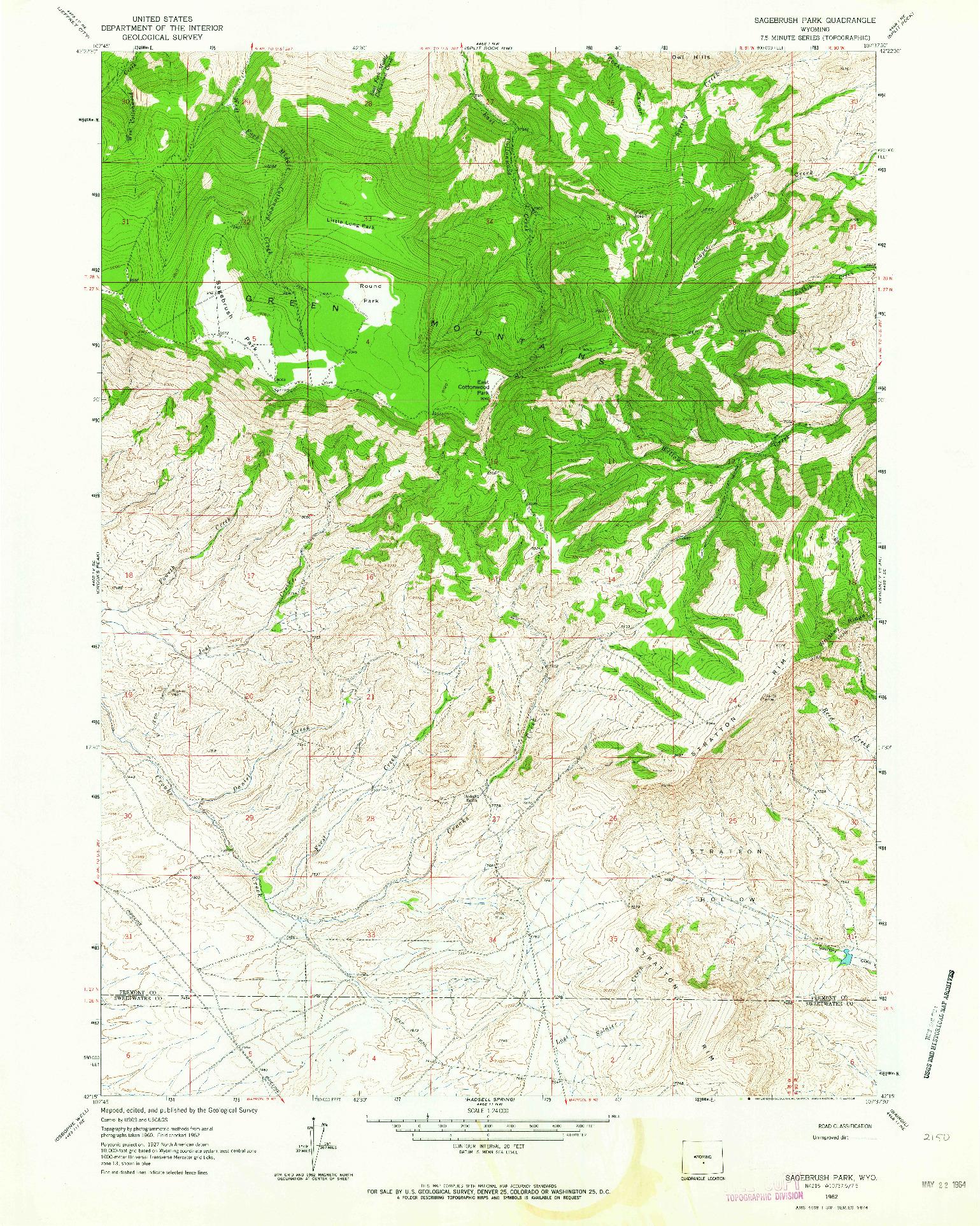USGS 1:24000-SCALE QUADRANGLE FOR SAGEBRUSH PARK, WY 1962