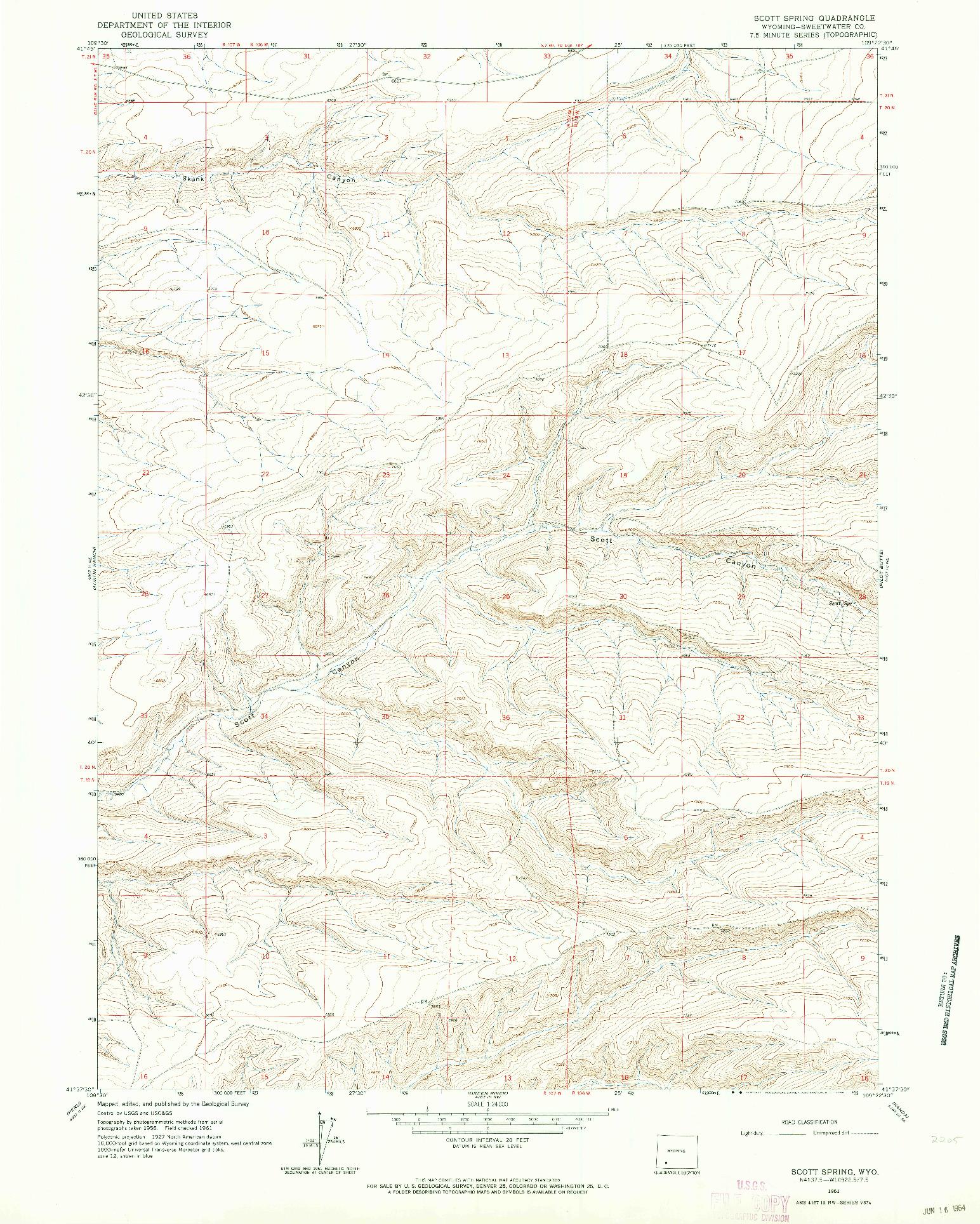 USGS 1:24000-SCALE QUADRANGLE FOR SCOTT SPRING, WY 1961
