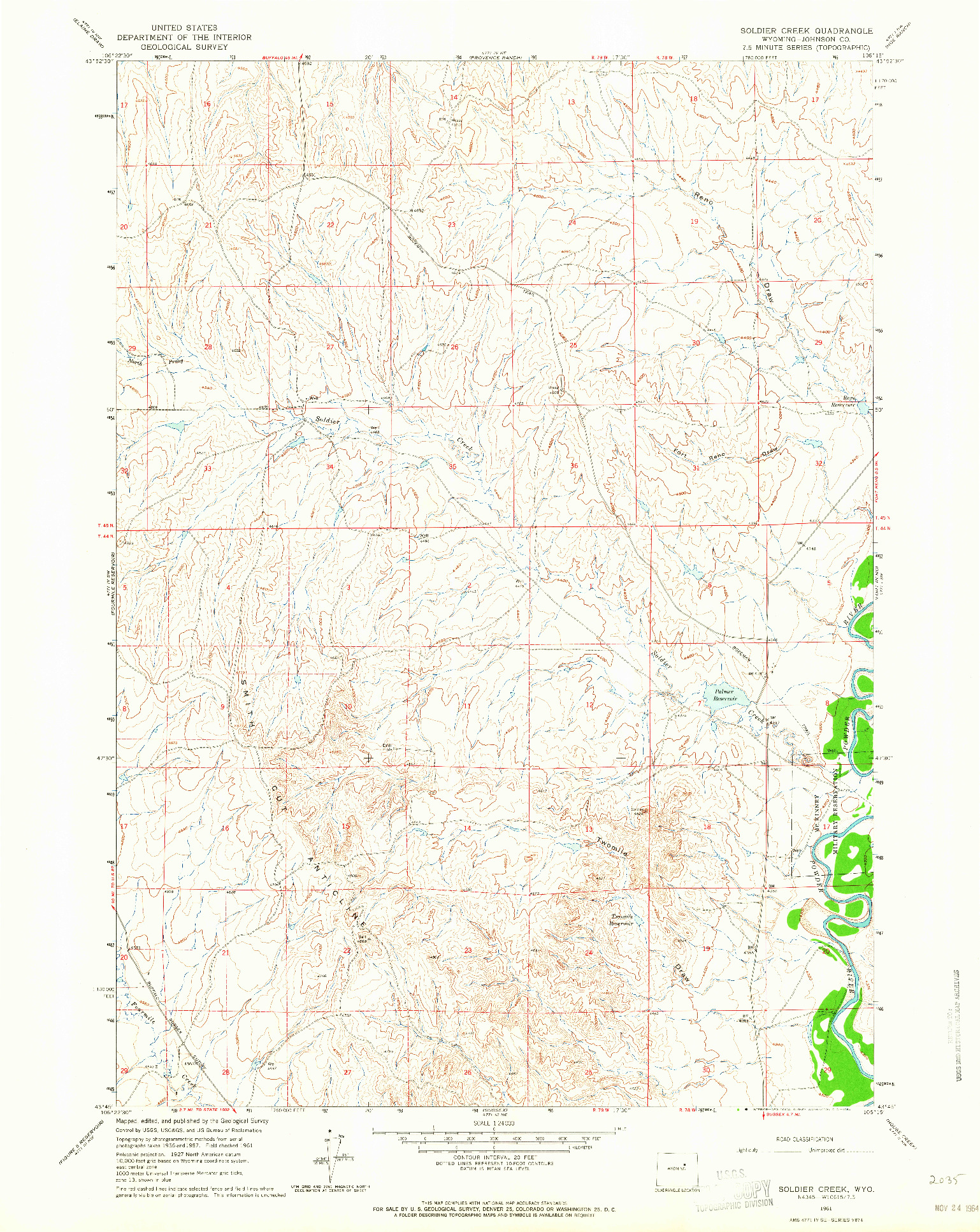 USGS 1:24000-SCALE QUADRANGLE FOR SOLDIER CREEK, WY 1961