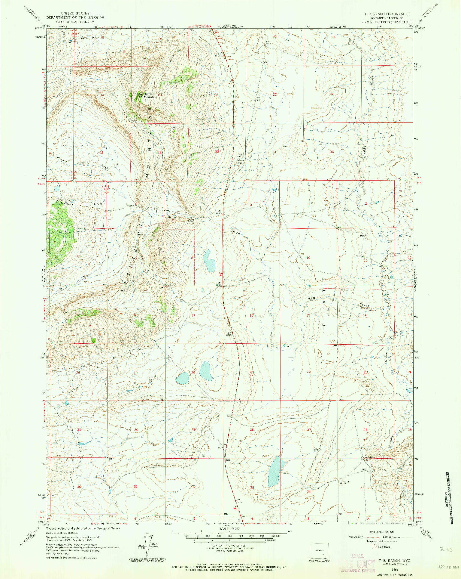 USGS 1:24000-SCALE QUADRANGLE FOR T B RANCH, WY 1961