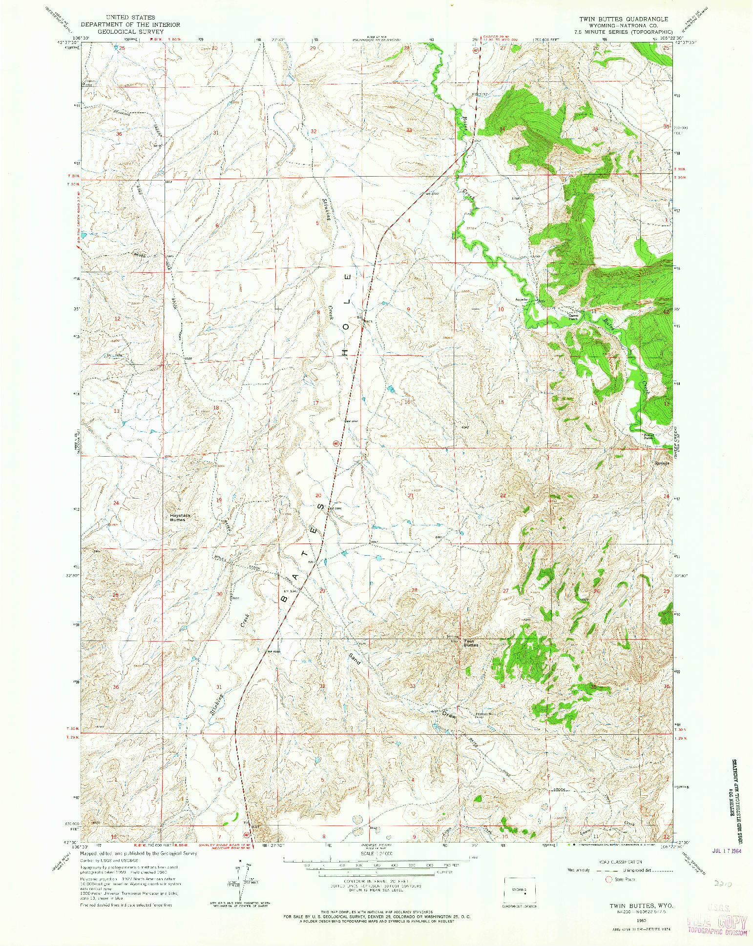 USGS 1:24000-SCALE QUADRANGLE FOR TWIN BUTTES, WY 1960