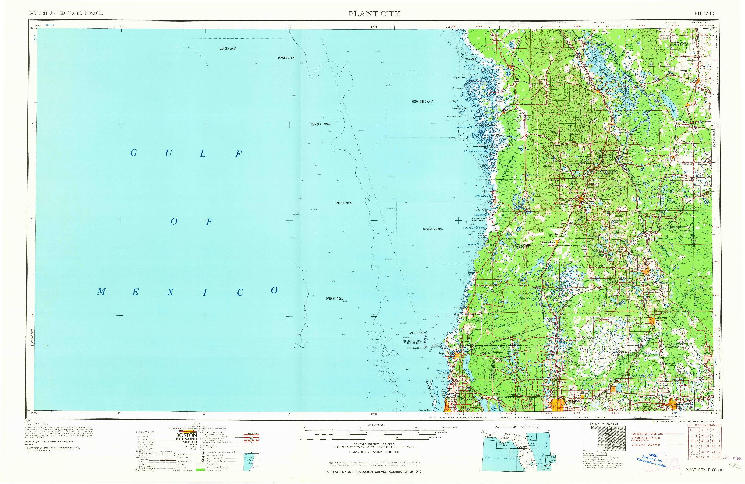 USGS 1:250000-SCALE QUADRANGLE FOR PLANT CITY, FL 1964
