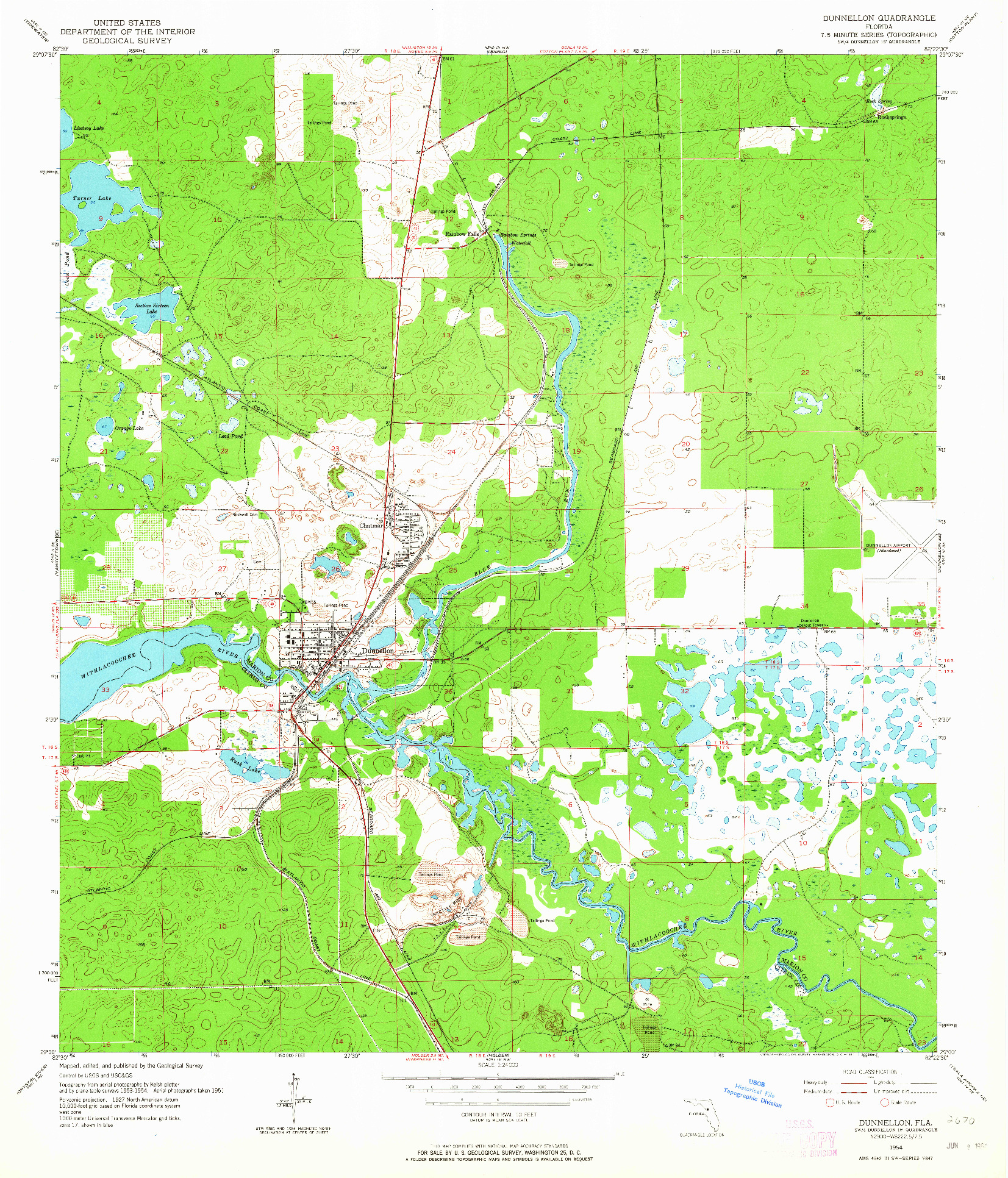 USGS 1:24000-SCALE QUADRANGLE FOR DUNNELLON, FL 1954